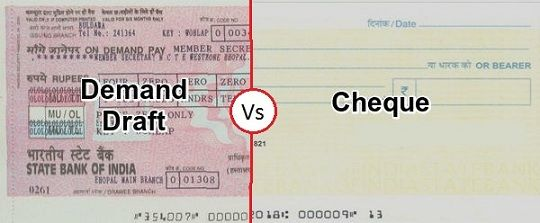 Difference Between Cheque and Demand Draft (with Comparison