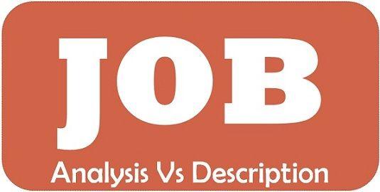 job analysis vs job description