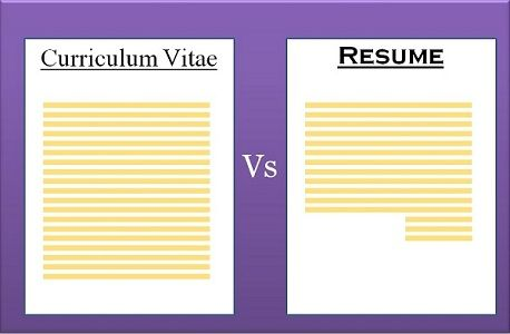 difference between cv and resume with comparison chart key