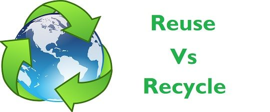 difference between reuse and recycle with comparison chart key