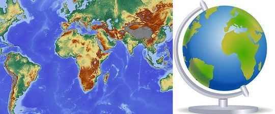 Globe Map Pictures.Difference Between Map And Globe With Comparison Chart Key