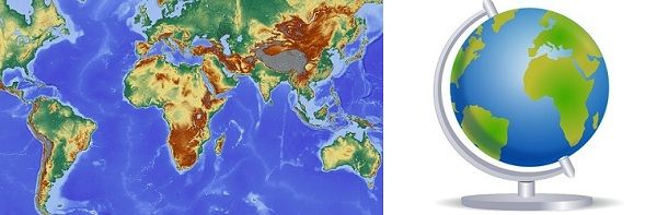 Difference between map and globe with comparison chart key map vs globe as we know that the shape of the earth is not perfectly spherical because it is a bit flattened at both the north and south poles and bulge in gumiabroncs Images